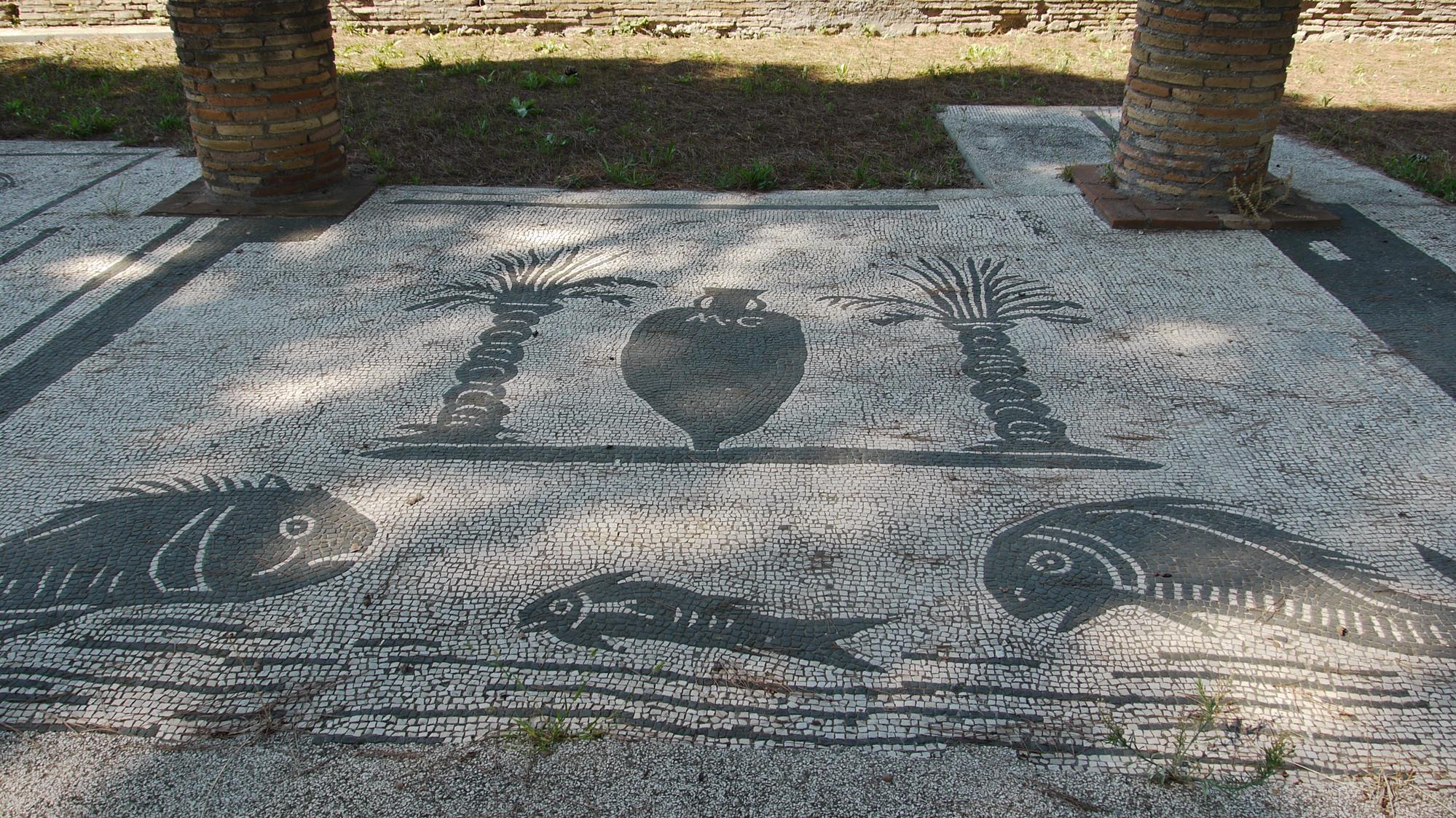 Mosaics in the Ostia Antica market advertised the stall owners' wares (fish sauce perhaps?)
