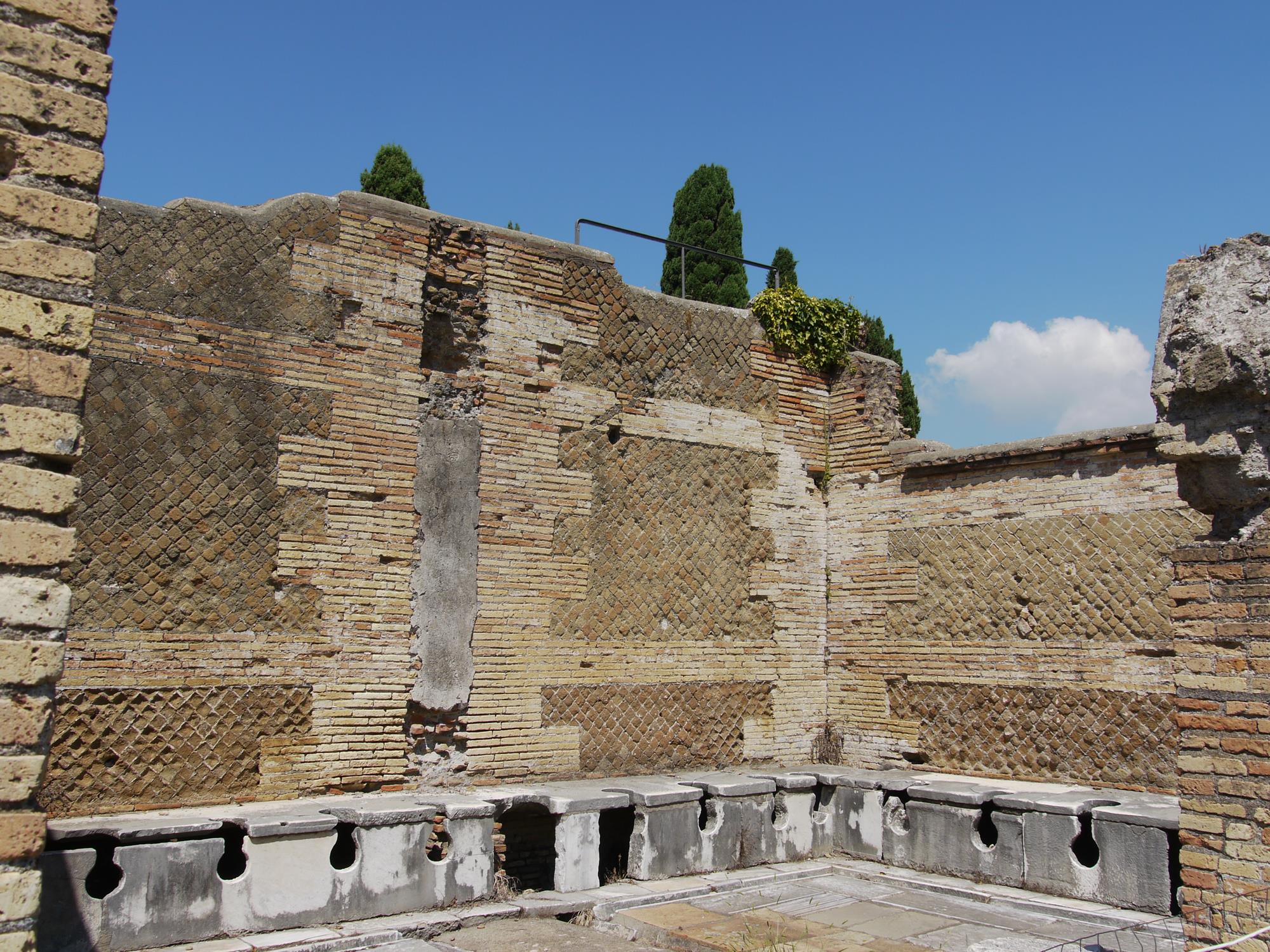 Ancient Roman toilets at Ostia Antica